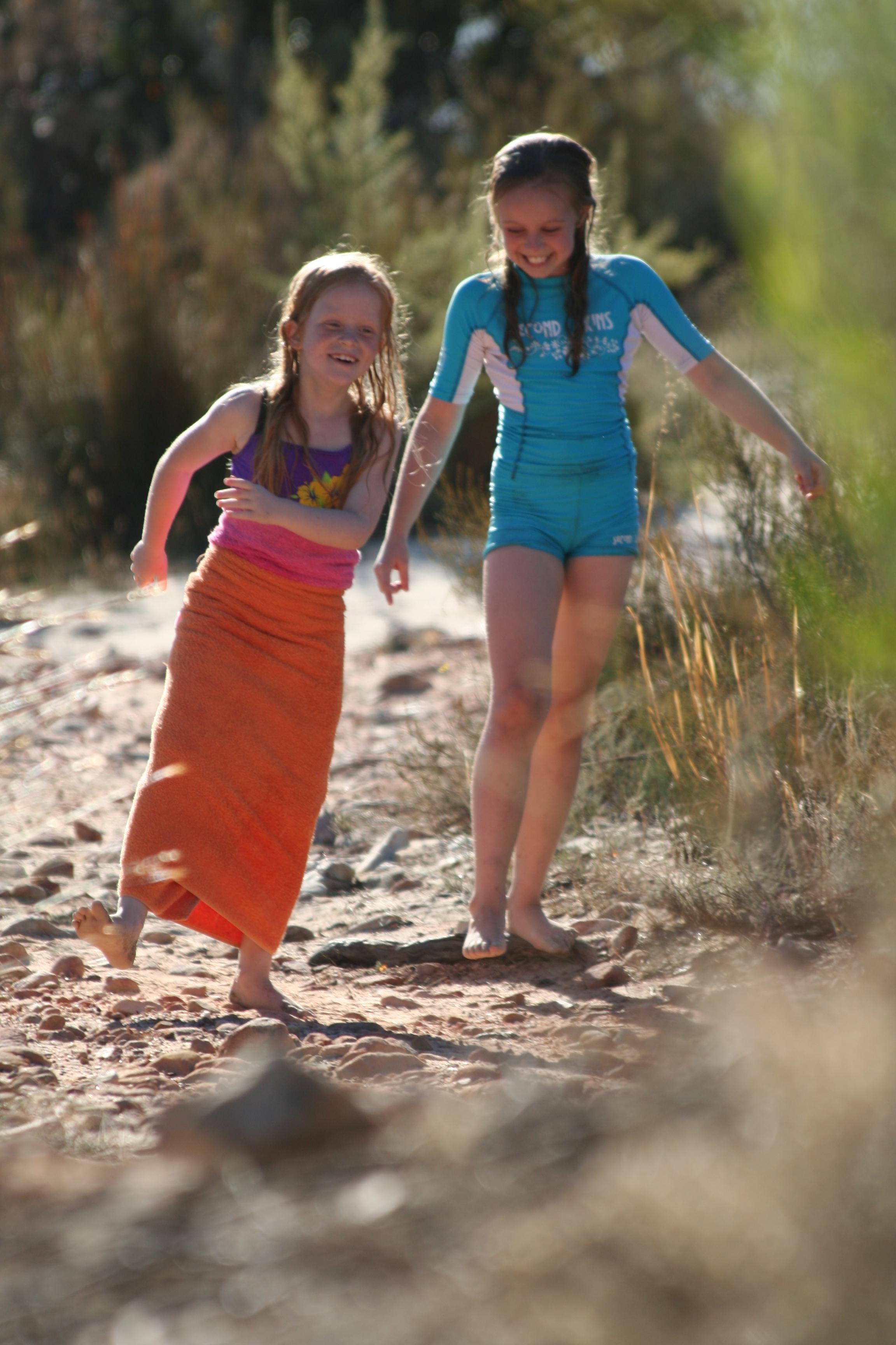 Girls walking on beach