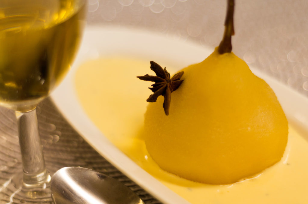 Beautiful food - poached pear dessert